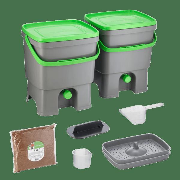 Bokashi Organko set sivo/temno-zelena barva